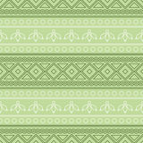 Seamless vector pattern.  Traditional ethno background in green colors. Stock Photography