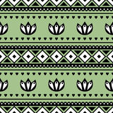 Seamless vector pattern.  Traditional ethno background in green colors. Royalty Free Stock Photo