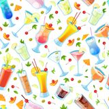 Seamless vector pattern with tropical alcohol cocktails. Beverages and drinks bar, restaurant white background vector illustration