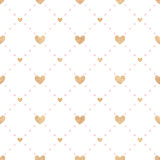 Seamless vector pattern Valentine's Day. Gold hearts and pink circles on a white background. Birthday, wedding, love - festive background Stock Photography