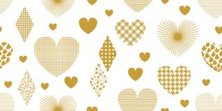 Minimalism style festive background with golden hearts, ornaments and decorations. Seamless vector pattern for Valentines Day cards, birthday invitations Stock Images