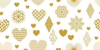 Minimalism style festive background with golden hearts, ornaments and decorations. Seamless vector pattern for Valentines Day cards, birthday invitations Royalty Free Stock Photos
