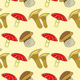 Seamless vector pattern with vegetables, background with closeup mushrooms: fly agaric, chanterelle and porcini mushrooms Royalty Free Stock Photo