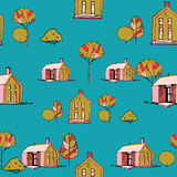 Seamless vector pattern. Village illustration. Royalty Free Stock Images