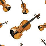 Seamless VECTOR pattern: violins. On white background Stock Image