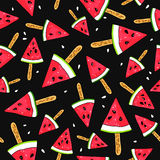 Seamless vector pattern of watermelon slices Stock Photos