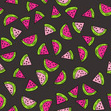 Seamless vector pattern with watermelon. Royalty Free Stock Photos