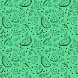 Seamless vector pattern with watermelons and mint. stock photography