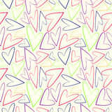 Seamless vector pattern, white chaotic background with colorful asymmetrical hearts Stock Photography
