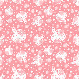 Seamless vector pattern with white ornamental apples and decorative elements on the pink background. Repeating ornament. Series of Fruits and Vegetables Royalty Free Stock Photography