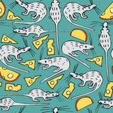 Seamless Vector Pattern with White Rats and Cheese Royalty Free Stock Photo