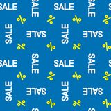 Seamless vector pattern white sale with yellow percent on blue background, EPS 10. Seamless vector pattern white sale with yellow percent on blue background EPS stock illustration