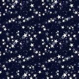 Seamless vector pattern with white stars on dark blue sky. Background for dress, manufacturing, wallpapers, prints, gift wrap and Stock Images