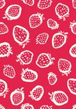 Seamless vector pattern with white hand drawn strawberries stock illustration