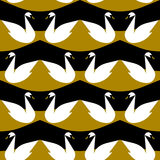 Seamless vector pattern with white swan Stock Photography