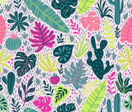 Seamless vector pattern with wild tropical rainforest. Royalty Free Stock Image