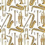 Seamless Pattern. Wind Instruments and Notes. Seamless Vector Pattern. Wind Musical Instruments and Notes on a White Background Stock Photo