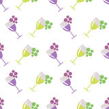 Seamless vector pattern with wineglasses with red and white wine, and bunches of grape on the grey background. Royalty Free Stock Photo