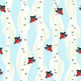 Seamless vector pattern. Winter birch trees with flying birds. Bullfinshes Royalty Free Stock Images