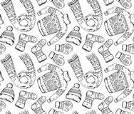 Seamless vector pattern with winter holiday elements. Stock Photography