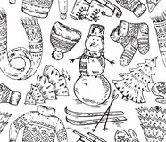 Seamless vector pattern with winter holiday elements Stock Image