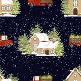 Seamless vector pattern. Winter illustration. New Year`s and Christmas. Houses in the snow and red trucks with spruce trees. stock illustration