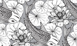 Seamless Vector Pattern With Hand Drawn Koi Fish With Lotus Stock Image