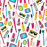 Seamless Vector Pattern With Makeup Tools, Brushes Stock Photography
