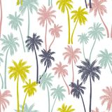 Seamless Vector Pattern With Palm Trees Royalty Free Stock Image