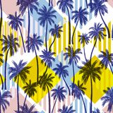 Seamless Vector Pattern With Palm Trees Stock Images