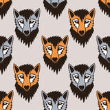 Seamless vector pattern with wolf and fox. Cartoon Royalty Free Stock Photos