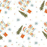 Seamless vector pattern with the words Merry Christmas. Stock Images