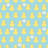 Seamless vector pattern with yellow baby ducks. Stock Image