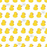 Seamless vector pattern with yellow baby ducks. Stock Photos