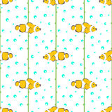 Seamless vector pattern with yellow fishes, seaweed and bubbles on the white background Stock Image