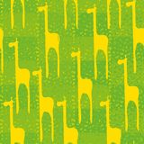Seamless vector pattern with yellow giraffes on green background vector illustration