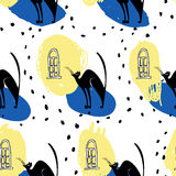 Seamless vector patterncats under the window Stock Images
