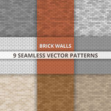 9 Seamless vector patterns. Brick wall paterns. Abstract background Stock Images