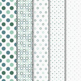 Seamless vector patterns with circles and dots. Set of 5 seamless vector patterns with circles and dots Stock Photos