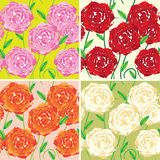 Seamless vector patterns with colored roses Stock Image