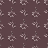 Seamless vector patterns with cups and cofee grains on the brown background. Royalty Free Stock Photo