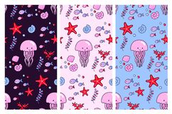 Seamless vector patterns with cute jellyfish and sea elements on different backgrounds. royalty free illustration