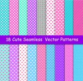 Seamless vector patterns in lol doll surprise style. Endless background with hearts, stripes and polka dots. Decor for. Children`s birthday, girls party, gift royalty free illustration