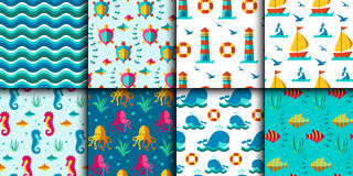 Seamless vector patterns with nautical elements wave marine collection paper sea background Stock Images