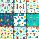 Seamless vector patterns with nautical elements wave marine collection paper sea background Royalty Free Stock Photography