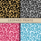 Seamless vector patterns set with leopard skin texture. Repeatin. G leopard backgrounds for textile design, scrapbooking, wrapping paper. Vector leopard print Royalty Free Stock Photography