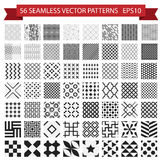 Seamless vector patterns set. Universal collection of unique bac. Kgrounds: geometric, linear, abstract. Various monotone black and white backdrop for your Stock Illustration