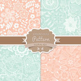 4 seamless vector patterns. Shabby chic. Floral patterns (seamle Stock Image