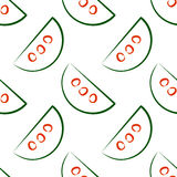 Seamless vector patterns with slices of watermelon. Stock Photography