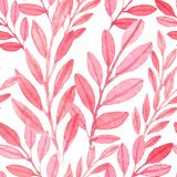 Seamless vector Pink pattern of leaves. Seamless watercolor vector Pink pattern of leaves Stock Photo